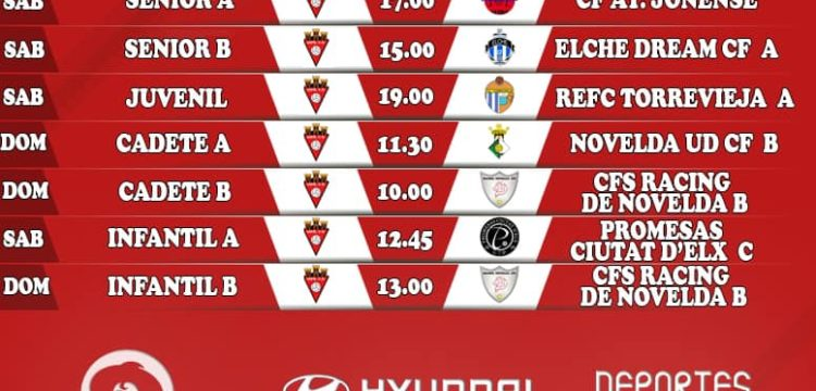 Horarios Aspe UD Fútbol 11 Jornada 26-27 de Octubre 2019