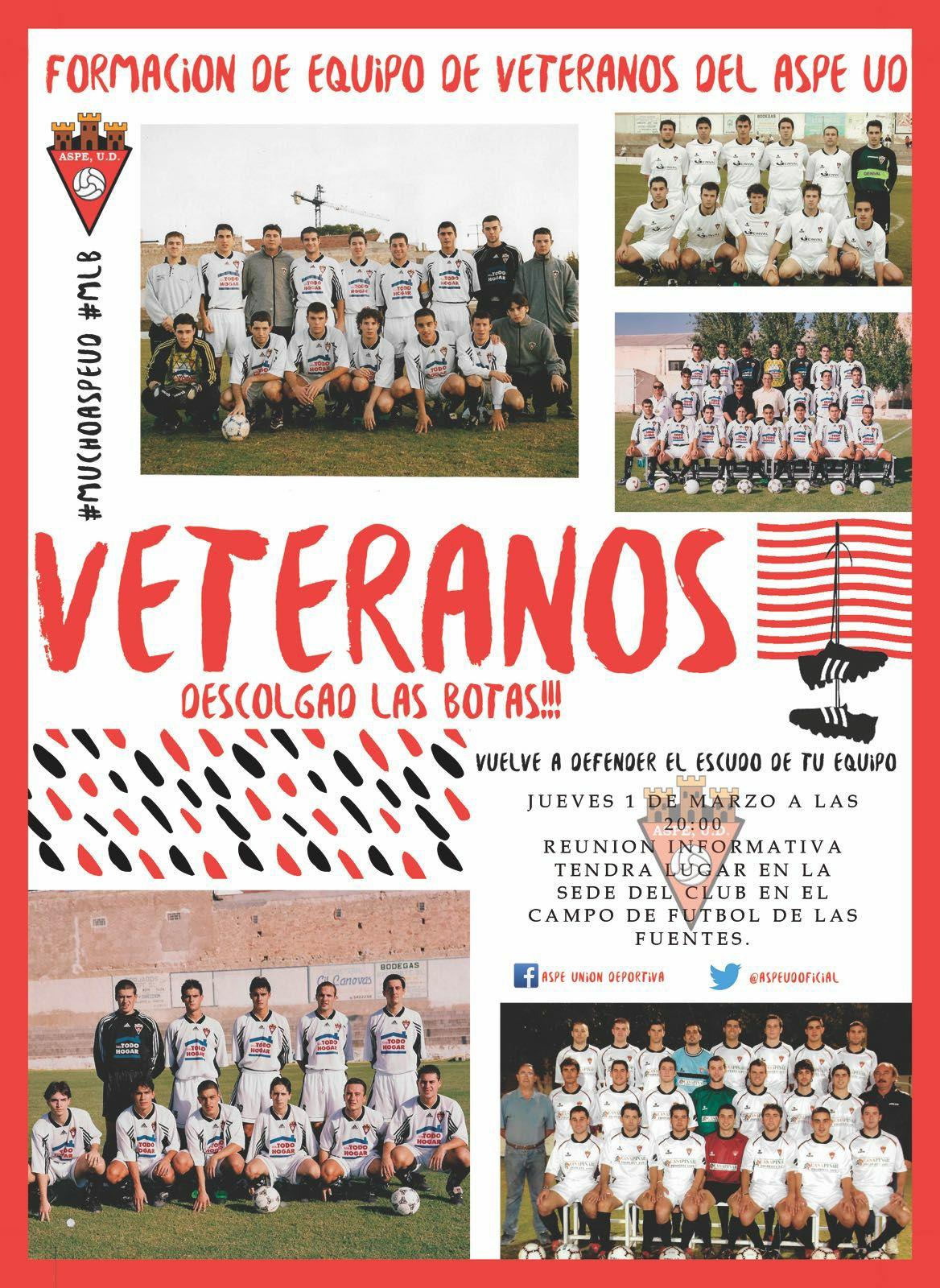 Únete al equipo de veteranos del Aspe Unión Deportiva