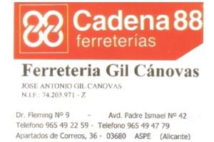 Ferretería Gil Cánovas Aspe Patrocinador del Aspe Unión Deportiva