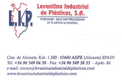 Levantina Industrial de Plásticos S.A. Patrocinador del Aspe Unión Deportiva