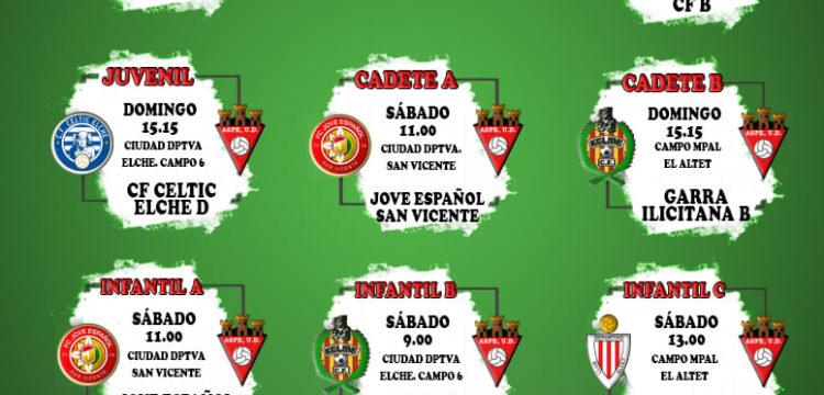 Horarios futbol 11 del Aspe UD fin de semana 21 -22 de noviembre de 2020