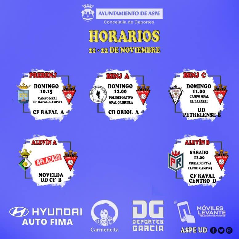 Horarios futbol 8 del Aspe UD fin de semana 21 -22 de noviembre de 2020