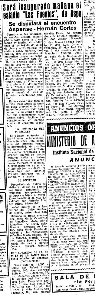Inauguración Campo Municipal de Las Fuentes de Aspe