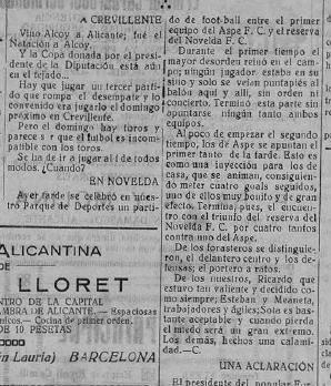 histórico partido del Aspe UD en los años 30