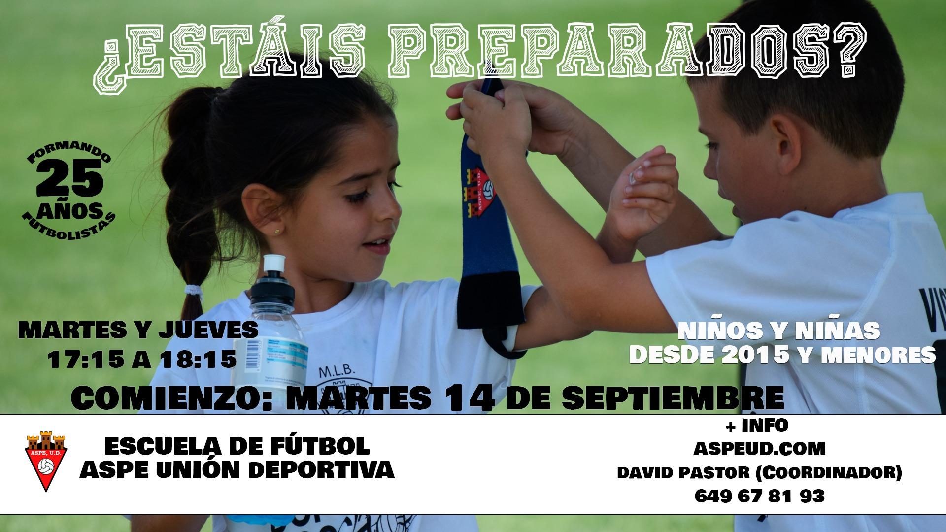 Comienza la escuela de fútbol del Aspe UD 2021/2022