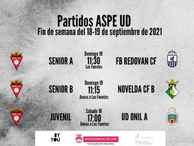 Horarios de los equipos del Aspe UD fin de semana 18 y 19 de septiembre